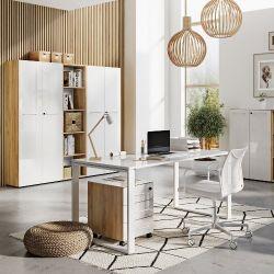 Bureau Mouna - chêne/blanc