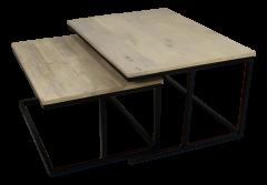 Table basse grande - naturel / noir - set de 2