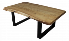 Table basse SoHo - acacia / fer - laqué époxy noir