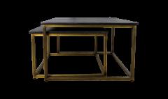 Table basse carrée Finnley - 70x70 cm - lavis noir / or antique - ensemble de 2