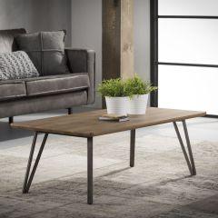 Table de salon 120x60 cadre en V - 3D Chêne en lavage brun