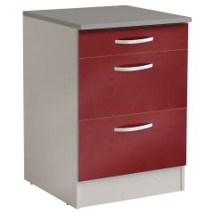 Meuble bas Spott 60 cm avec 3 tiroirs - glossy red