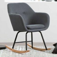 Chaise à bascule Hermeline en tissu - gris foncé