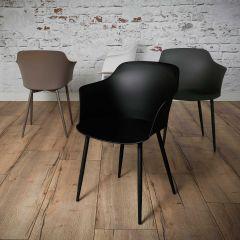 Lot de 4 chaises coquille Frederick - noir
