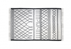 Tapis - coton - 90x60 cm - noir et blanc