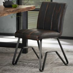 Chaise vintage lavé PU double pietement W - Lot de 2 - Brun
