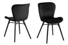 Set de 2 chaises en velours Tilda avec pieds obliques - noir