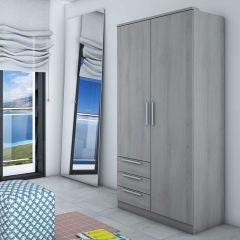 Armoire Ramos 2 portes & 3 tiroirs - frêne gris