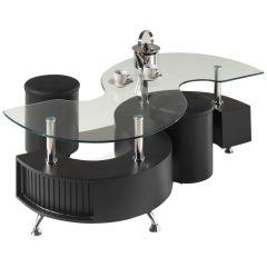 Table basse Shana avec 2 poufs - noir
