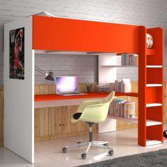 Lit mezzanine Beau avec bureau - blanc/rouge