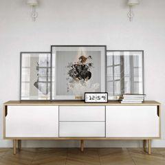 Bahut Danny à tiroirs 201cm - blanc/chêne