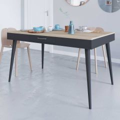 Table Horizon 134x85 - chêne/noir