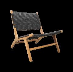 Chaise longue - cuir / teak - noir