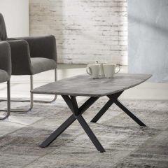 Table de salon 120 plateau tonneau  piètement noir poudrage électrostatique - 3D beton