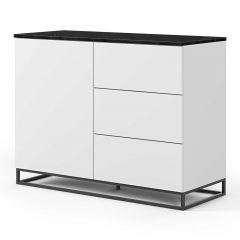 Bahut Join 120cm avec piètement en métal, 1 porte et 3 tiroirs - blanc mat/marbre noir