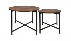 Table basse nordique - bois de manguier / fer - set de 2