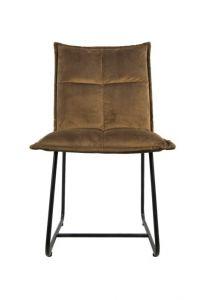 Chaise de salle à manger Estelle - velours - marron olive