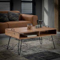 Table de salon Quadro avec 2 compartiments ouverts - Massif acacia naturel