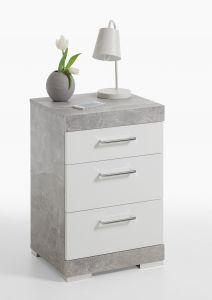 Table de chevet Cristal - béton/blanc brillant