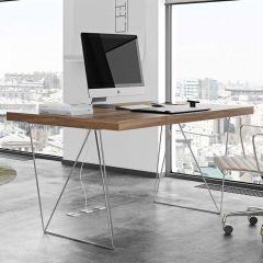 Table Multis 160cm - noyer/chrome