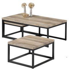 Lot de 3 tables d'appoint Jenna - chêne vieilli