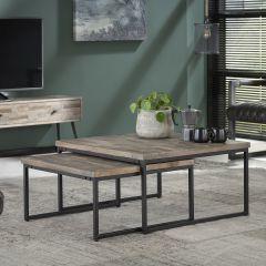 Table de salon série - 2 Teca 75x75 - Teck en lavage gris