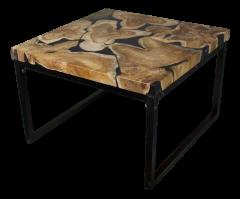 Table basse - 60x60 cm - noir - teck avec résine  /  fer