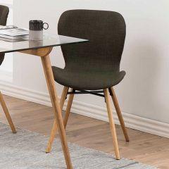 Set de 2 chaises en tissu Tilda avec pieds obliques - kaki/chêne