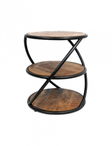 Table basse tour - ø43 cm - bois de manguier / fer