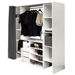 Armoire Spike avec 2 colonnes & tiroirs - blanc/gris