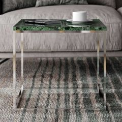 Table d'appoint Gleam 50x50 - marbre vert/chrome