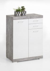 Commode Cristal 2 portes et 2 tiroirs 80x110x50 - béton/blanc brillant