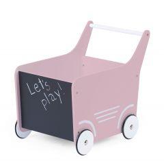 Chariot de marche en bois - rose