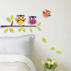 Stickers muraux 3D Hiboux - mousse