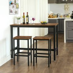 Ensembe table et 2 tabourets de bar Isolde 120x60 - brun/noir