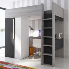 Lit mezzanine Beau avec bureau et armoire - graphite