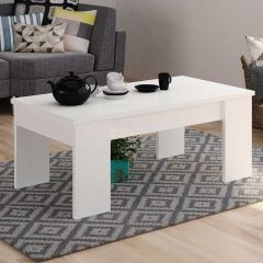 Table basse Ramos avec plateau relevable - blanc brillant