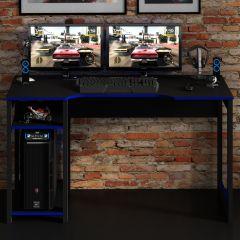 Bureau gaming Vanos 136cm - noir/bleu
