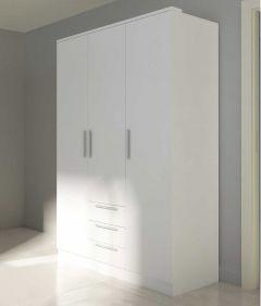 Armoire Ramos 3 portes & 3 tiroirs - blanc