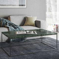 Table basse Gleam 120x75 - marbre vert/chrome