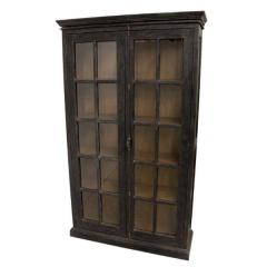 Armoire vitrée Durham 130cm à 2 portes - noir