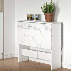 Table à manger Papillon - blanc/marbre