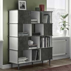 Bibliothèque Fame - blanc/béton