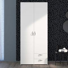 Armoire de rangement Salvador 2 portes & 2 tiroirs - blanc