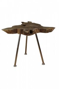 Table basse Root - ø50-60 cm - teck ancien  /  acier inoxydable