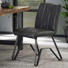 Chaise vintage lavé PU double pietement W - Lot de 2 - Anthracite