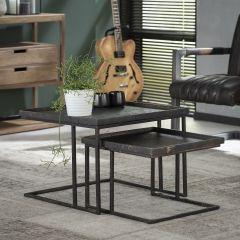 Table de salon ensemble de 2 carré Métallique - Gris