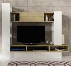 Meuble tv Boyd - chêne/blanc