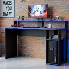 Bureau gaming Markies 136cm - noir/bleu
