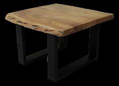 Table d'appoint SoHo - acacia / fer - revêtement époxy noir